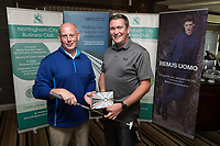 NCBC President Ian Roberts hands over the Nearest the Pin 5th hole prize of a putter and balls donated by FCYBG to Dan Bowtell of Smith Cooper