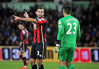 (L-R) Steve Cook of Bournemouth and goalkeeper Adam Federici prepare for a Swansea corner kick during the Barclays Premier League match between Swansea City and Bournemouth at the Liberty Stadium, Swansea on November 21 2015