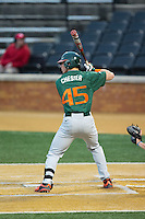 Carl Chester (45) of the Miami Hurricanes at bat against the Wake Forest Demon Deacons at Wake Forest Baseball Park on March 20, 2015 in Winston-Salem, North Carolina.  The Hurricanes defeated the Demon Deacons 15-2.  (Brian Westerholt/Four Seam Images)