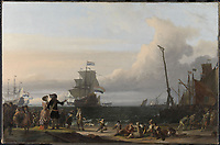 Dutch ships in the roadstead of Texel, in the middle of the 'Golden Lion' - by Ludolf Bakhuysen, 1671