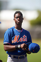 GCL Mets center fielder Ranfy Adon (12) during warmups before the first game of a doubleheader against the GCL Astros on August 5, 2016 at Osceola County Stadium Complex in Kissimmee, Florida.  GCL Astros defeated the GCL Mets 4-1 in the continuation of a game started on July 21st and postponed due to inclement weather.  (Mike Janes/Four Seam Images)