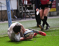 5th February 2021; Ashton Gate Stadium, Bristol, England; Premiership Rugby Union, Bristol Bears versus Sale Sharks; Luke James of Sale Sharks scores a try to seal the match for sale
