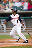 Tennessee right fielder Jemel Spearman (2) follows through on his swing versus Carolina at Smokies Park in Sevierville, TN, Friday, July 27, 2007.