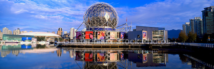 Vancouver, BC, British Columbia, Canada - Telus World of Science and BC Place Stadium at False Creek - Panoramic View (Historical Roof on BC Place and Historical View of Science World)