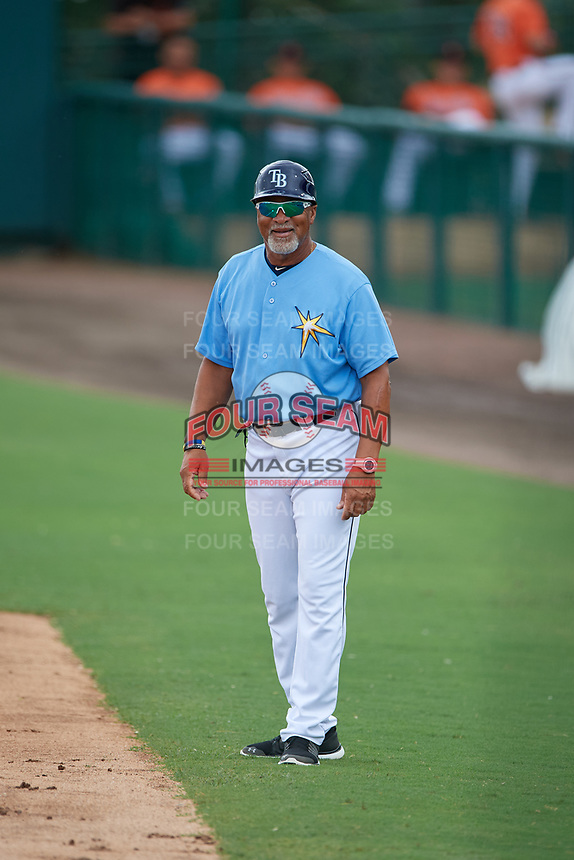 Tampa Bay Rays coach Gary Redus during an Instructional League game against the Baltimore Orioles on October 5, 2017 at Ed Smith Stadium in Sarasota, Florida.  (Mike Janes/Four Seam Images)