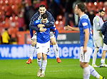 Aberdeen v St Johnstone…08.12.18…   Pittodrie    SPFL<br />Tony Watt celebrates with Joe Shaughnessy at full time<br />Picture by Graeme Hart. <br />Copyright Perthshire Picture Agency<br />Tel: 01738 623350  Mobile: 07990 594431