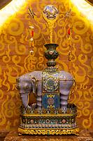 Nanjing, Jiangsu, China.  Decorative Elephant in Usnisa Hall, Usnisa Palace, Niushou Mountain.