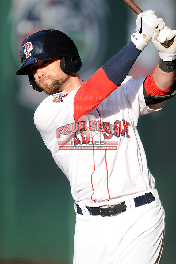 Pawtucket Red Sox outfielder Bryce Brentz #25 during a game versus the Buffalo Bisons at McCoy Stadium in Pawtucket, Rhode Island on June 15, 2013.(Ken Babbitt/Four Seam Images)