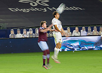 CARSON, CA - SEPTEMBER 19: Ethan Zubak #29 of the Los Angeles Galaxy heads a ball during a game between Colorado Rapids and Los Angeles Galaxy at Dignity Heath Sports Park on September 19, 2020 in Carson, California.