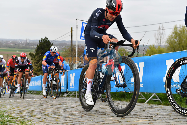 Tom Pidcock (ENG) Ineos Grenadiers climbs the Paterberg during the 2021 Tour of Flanders running 254.3km from Antwerp to Oudenaarde, Belgium. 4th April 221.  <br /> Picture: Serge Waldbillig | Cyclefile<br /> <br /> All photos usage must carry mandatory copyright credit (© Cyclefile | Serge Waldbillig)