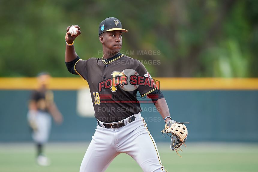 Pittsburgh Pirates Sherten Apostel (38) during a Minor League Spring Training Intrasquad game on March 31, 2018 at Pirate City in Bradenton, Florida.  (Mike Janes/Four Seam Images)