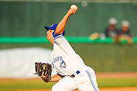 Bluefield Blue Jays relief pitcher Joe Spano #5 in action against the Pulaski Mariners at Bowen Field on July 1, 2012 in Bluefield, West Virginia.  The Mariners defeated the Blue Jays 4-3.  (Brian Westerholt/Four Seam Images)