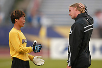 New York Power goalkeeper coach Zac Shaw talks with keeper Gao Hong before the June 26th game against the Carolina Courage at Mitchel Athletic Complex. Shaw resigned on June 27th.