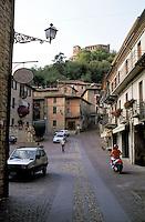 """Zavattarello, paese in provincia di Pavia, annoverato tra i """"borghi più belli d'Italia"""". In cima alla collina il castello --- Zavattarello, small village in the province of Pavia, rated within the """"most beautiful villages in Italy"""". On top of the hill the castle"""