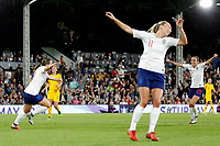 Fran Kirby of England Women wheels away after scoring during the Women's international friendly match between England Women and Australia at Craven Cottage, London, England on 9 October 2018. Photo by Carlton Myrie / PRiME Media Images.