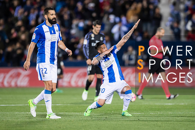 Luciano Neves (r) of Deportivo Leganes celebrates during their La Liga match between Deportivo Leganes and Real Madrid at the Estadio Municipal Butarque on 05 April 2017 in Madrid, Spain. Photo by Diego Gonzalez Souto / Power Sport Images