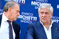 Lorenzo Cesa of UDC party and the europarlamentarian Antonio Tajani of Forza Italia party attend an electoral campaign press conference for the mayoral election in Spinaceto, a peripheral neighborhood in the west of Rome on October 1st 2021. Photo Andrea Staccioli Insidefoto