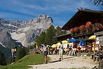 Italy, South Tyrol, Alto Adige, Dolomites, Moso: hiking region Prati di Croda Rossa with Prati di Croda Rossa Mountain Inn and Punta Tre Scarperi mountain