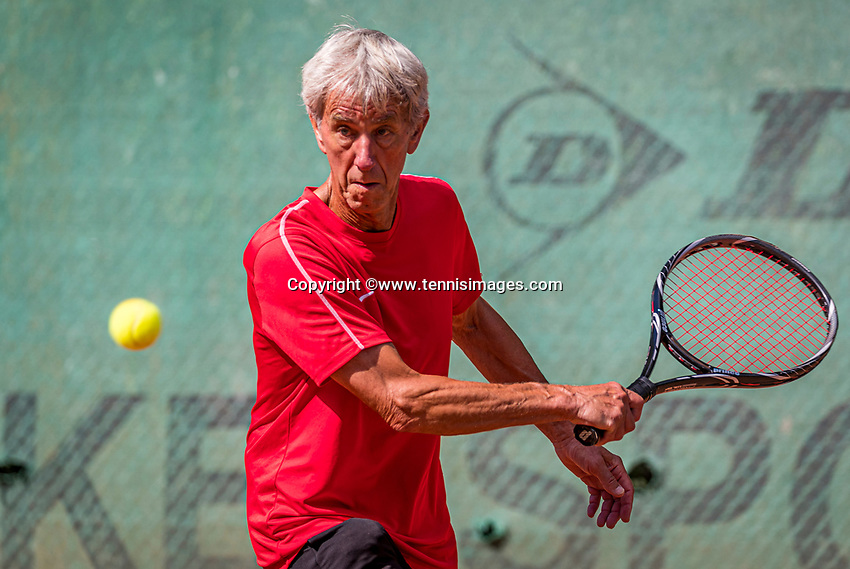 Hilversum, The Netherlands,  August 21, 2020,  Tulip Tennis Center, NKS, National Senior Tennis Championships, Men's single 75+,  Piet Boverhof  (NED)<br /> Photo: Tennisimages/Henk Koster