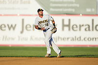Sussex County Miners second baseman Jay Baum (10) on defense against the New Jersey Jackals at Skylands Stadium on July 29, 2017 in Augusta, New Jersey.  The Miners defeated the Jackals 7-0.  (Brian Westerholt/Four Seam Images)