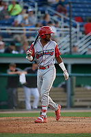 Williamsport Crosscutters Kendall Simmonsn (19) at bat during a NY-Penn League game against the Batavia Muckdogs on August 25, 2019 at Dwyer Stadium in Batavia, New York.  Williamsport defeated Batavia 10-3.  (Mike Janes/Four Seam Images)