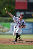 Kannapolis Intimidators relief pitcher Matt Foster (24) delivers a pitch to the plate against the Hagerstown Suns at Kannapolis Intimidators Stadium on July 9, 2017 in Kannapolis, North Carolina.  The Intimidators defeated the Suns 3-2 in game one of a double-header.  (Brian Westerholt/Four Seam Images)