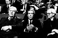 December 10,1985 File Photo - Peter Ustinov (L), Jean-Jacques Cervan-Schreiber (M) and Paul-Emile Leger (R attend the  launch of LE DEFI MONDIAL