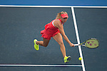 Lara Arruabarrena of Spain in action against Daria Gavrilova of Russia during the WTA Prudential Hong Kong Tennis Open at the Victoria Pack Stadium on 14 October 2015 in Hong Kong, China. Photo by Aitor Alcalde / Power Sport Images