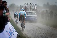 Julien Duval (FRA/AG2R La Mondiale) riding with number 13. <br /> <br /> 117th Paris-Roubaix (1.UWT)<br /> 1 Day Race: Compiègne-Roubaix (257km)<br /> <br /> ©kramon