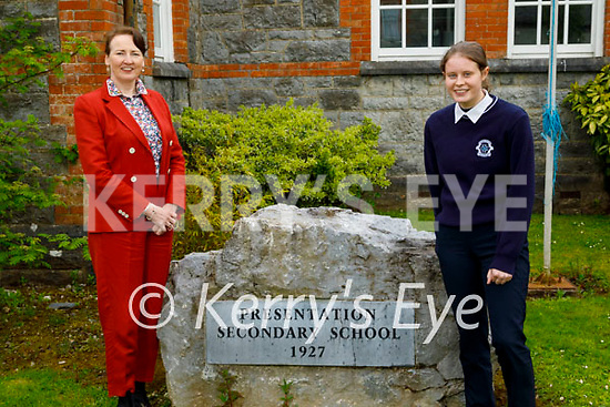 Presentation Castleisland student Hillary O'Connor received one of the highest grades in Ireland in her Junior Cycle Business exam in 2019 and recently received an award from the University of Limerick standing with the principal Katherina Broderick.