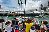 16th March 2021; Waitemata Harbour, Auckland, New Zealand;  Luna Rossa Prada Pirelli fans cheer the race boat as it leaves the team base.<br />