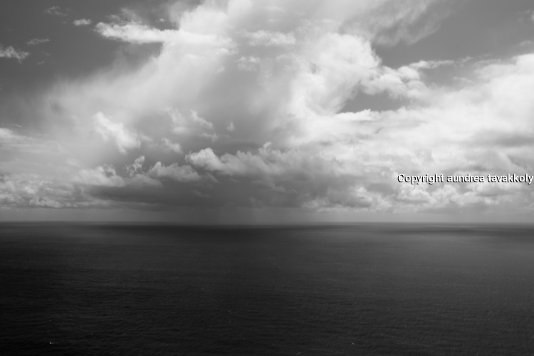 Clouds above Big Sur in black and white