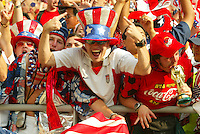 USA fan. The USA defeated Mexico 2-0 in the Round of 16 of the FIFA World Cup 2002 in South Korea on June 17, 2002.