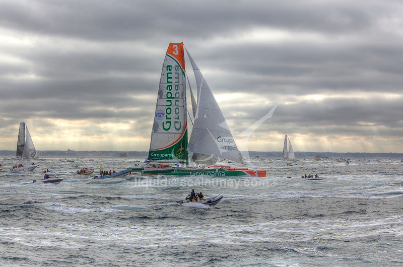 Groupama, Oman Air and Gitana XI at the start Route du Rhum La Banque Postale 2010..The Route du Rhum is a transatlantic single-handed yacht race, which takes places every 4 years in November. The course is between Saint Malo, Brittany, France and Pointe-à-Pitre, Guadeloupe.