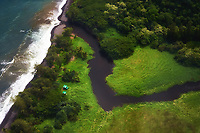 An aerial view of the shoreline of Waimanu Valley, Big Island.