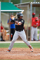 GCL Marlins right fielder Albert Guaimaro (30) at bat during the second game of a doubleheader against the GCL Nationals on July 23, 2017 at Roger Dean Stadium Complex in Jupiter, Florida.  GCL Nationals defeated the GCL Marlins 1-0.  (Mike Janes/Four Seam Images)