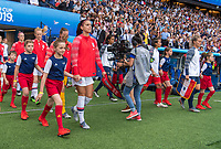 PARIS,  - JUNE 28: Alex Morgan #13 enters the field during a game between France and USWNT at Parc des Princes on June 28, 2019 in Paris, France.