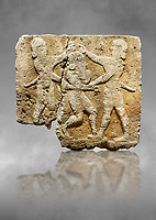Hittite relief sculpted orthostat stone panel of Herald's Wall Limestone, Karkamıs, (Kargamıs), Carchemish (Karkemish), 900-700 B.C. Anatolian Civilisations Museum, Ankara, Turkey.<br /> <br /> This relief tells the story the killing of Humbaba, protective deity of the cedar forests, by Gilgamesh and Enkidu. The figures standing on both sides hold, with one hand, the arms of the figure in the middle transversally while they stab the dagger on the head of the figure.  <br /> <br /> Against a grey art background.