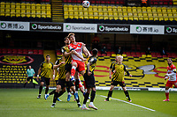 24th April 2021; Vicarage Road, Watford, Hertfordshire, England; English Football League Championship Football, Watford versus Millwall; Jake Cooper of Millwall challenges for a header.
