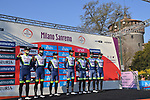 Intermarche-Wanty-Gobert-Materiaux at sign on before the start of the 112th edition of Milan-San Remo 2021, running 299km from Milan to San Remo, Italy. 20th March 2021. <br /> Photo: LaPresse/Gian Mattia D'Alberto | Cyclefile<br /> <br /> All photos usage must carry mandatory copyright credit (© Cyclefile | LaPresse/Gian Mattia D'Alberto)
