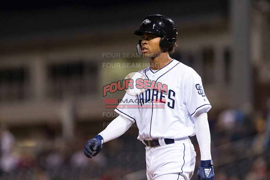 AFL West left fielder Buddy Reed (85), of the Peoria Javelinas and San Diego Padres organization, walks towards third base after hitting a triple in the bottom of the ninth inning during the Fall Stars game at Surprise Stadium on November 3, 2018 in Surprise, Arizona. The AFL West defeated the AFL East 7-6 . (Zachary Lucy/Four Seam Images)