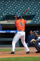 Robbie Coman (8) of the Virginia Cavaliers at bat against the Duke Blue Devils in Game Seven of the 2017 ACC Baseball Championship at Louisville Slugger Field on May 25, 2017 in Louisville, Kentucky. The Blue Devils defeated the Cavaliers 4-3. (Brian Westerholt/Four Seam Images)