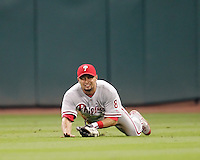 Philadelphia Phillies OF Shane Victorino makes a diving catch against the Astros on Thursday May 22nd at Minute Maid Park in Houston, Texas. Photo by Andrew Woolley / Baseball America..