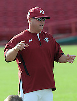 New head coach Chad Holbrook of the South Carolina Gamecocks during an intrasquad game as part of the Garnet & Black World Series on Oct. 25, 2012, at Carolina Stadium in Columbia, South Carolina. These final weekend intrasquad games signal the end of fall practice. (Tom Priddy/Four Seam Images)