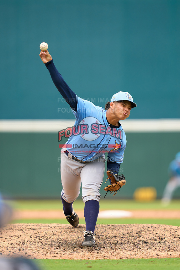 FCL Rays pitcher Over Galue (63) during a game against the FCL Pirates Gold on July 26, 2021 at LECOM Park in Bradenton, Florida. (Mike Janes/Four Seam Images)