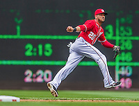 22 June 2014: Washington Nationals shortstop Ian Desmond gets Chris Johnson out in the second inning against the Atlanta Braves at Nationals Park in Washington, DC. The Nationals defeated the Braves 4-1 to split their 4-game series and take sole possession of first place in the NL East. Mandatory Credit: Ed Wolfstein Photo *** RAW (NEF) Image File Available ***