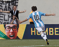 Argentina forward  Lionel Messi (10) celebrates third of his three goal effort. In an international friendly (Clash of Titans), Argentina defeated Brazil, 4-3, at MetLife Stadium on June 9, 2012.