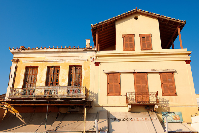 Typical port buildings of Aegins, Greek Saronic Islands