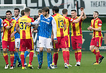 Partick Thistle v St Johnstone…28.10.17…  Firhill…  SPFL<br />Goal scorer Miles Storey celebrates at full time with Danny Devine<br />Picture by Graeme Hart. <br />Copyright Perthshire Picture Agency<br />Tel: 01738 623350  Mobile: 07990 594431