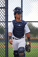 GCL Yankees East catcher Malvin Del Orbe (25) during the first game of a doubleheader against the GCL Yankees West on July 19, 2017 at the Yankees Minor League Complex in Tampa, Florida.  GCL Yankees West defeated the GCL Yankees East 11-2.  (Mike Janes/Four Seam Images)